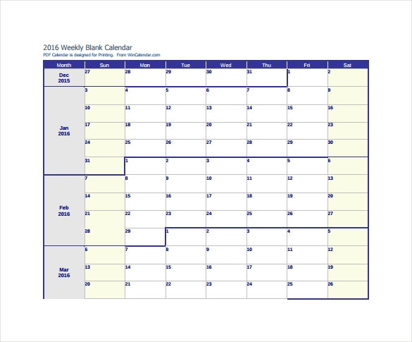 weekly blank calendar template