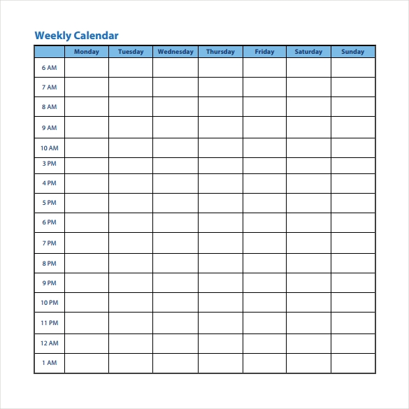 downloadable weekly calendar template