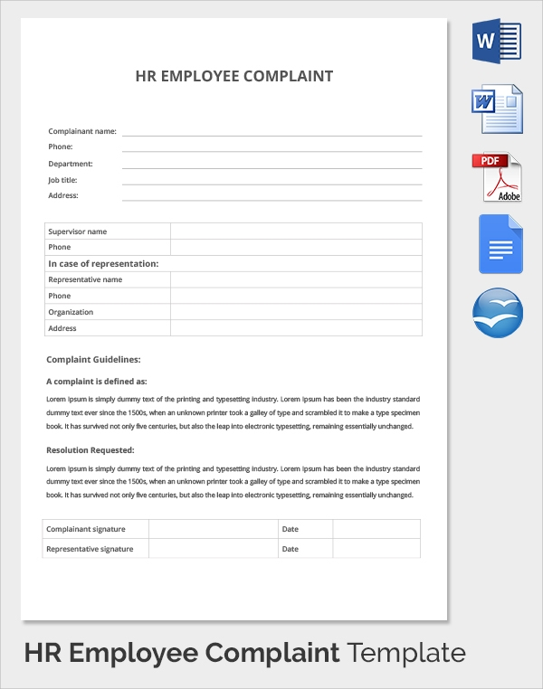 hr employee complaint template