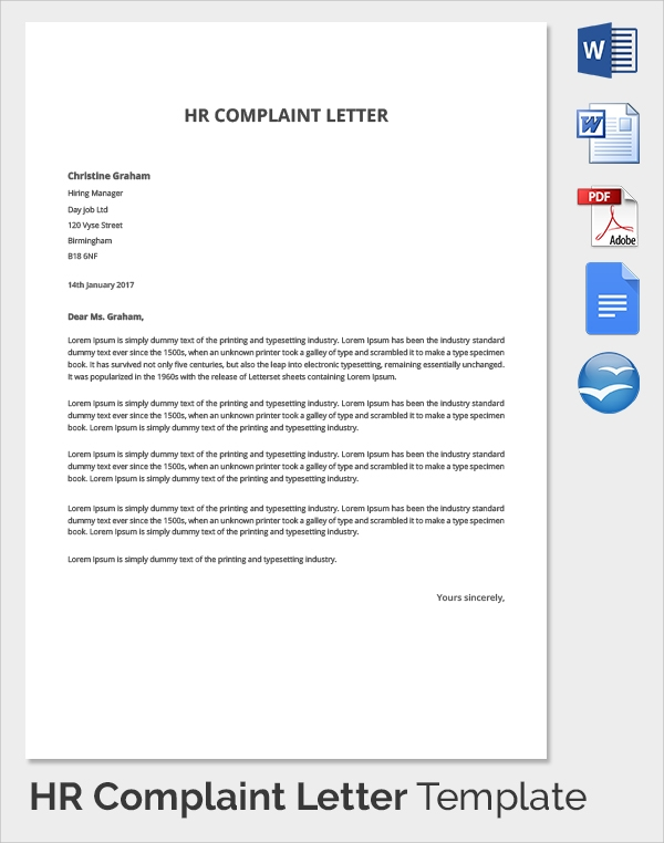 sample hr complaint forms