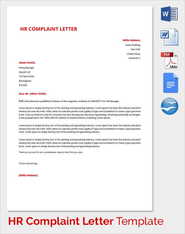 hr manager complaint letter template