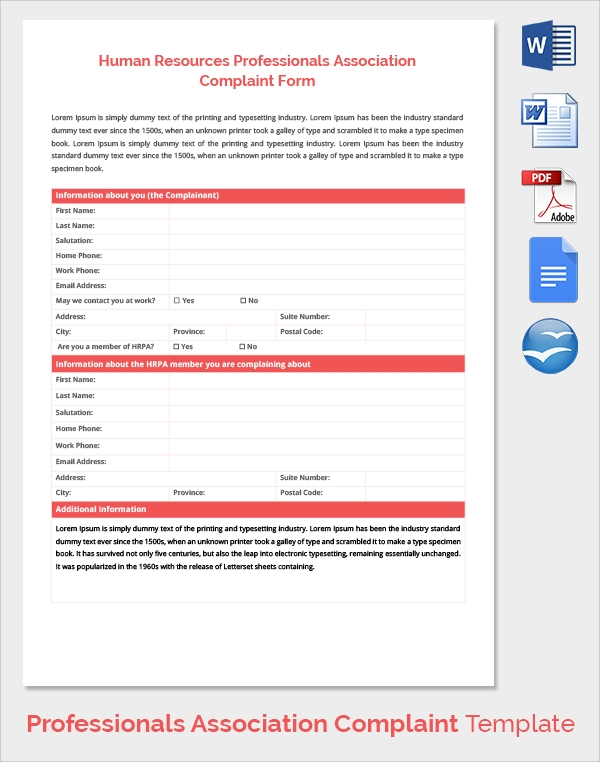 hr professionals association complaint form