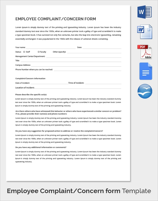 Sample Hr Complaint Forms   Free Download Documents In Pdf  Word