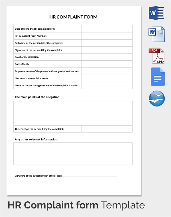 Sample Hr Complaint Forms - 9+ Free Download Documents In Pdf , Word