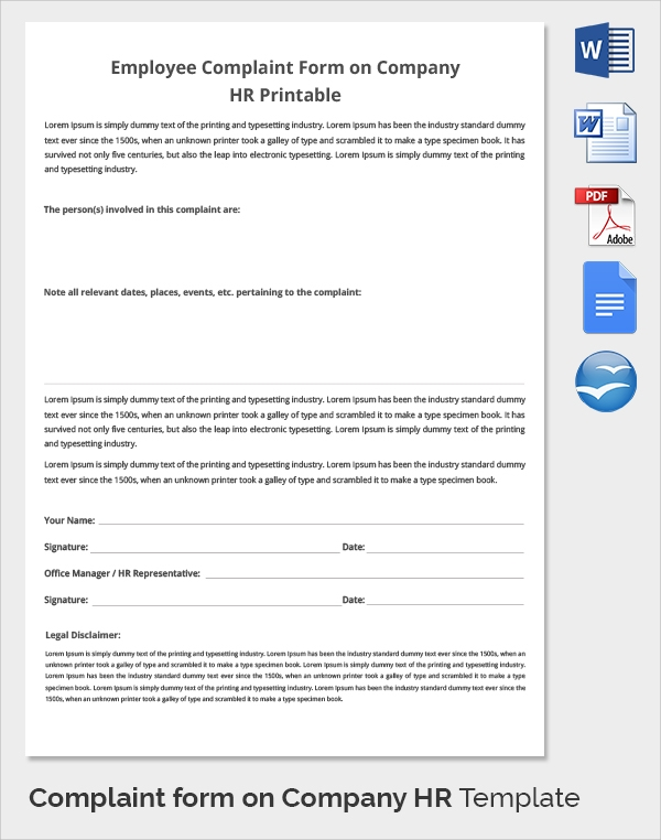 complaint form on company hr template