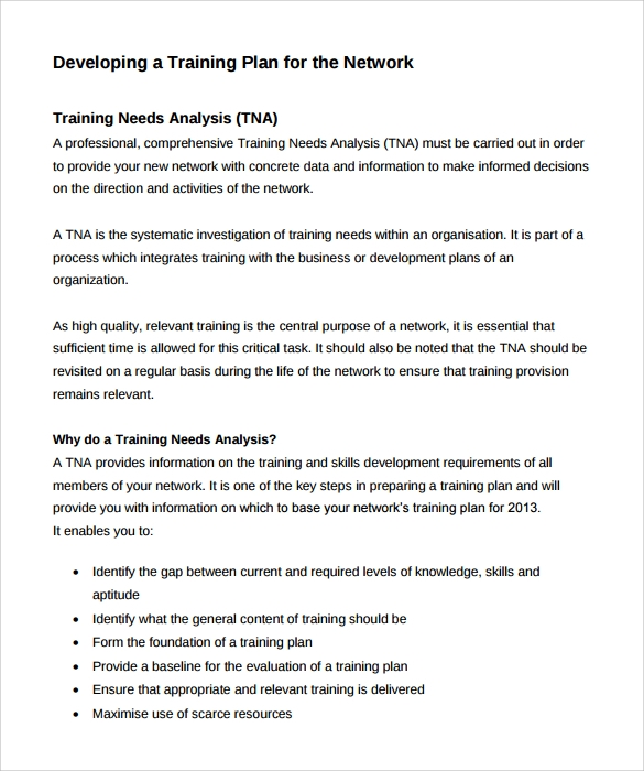 Sample Training Needs Analysis Template - 9+ Documents In Pdf, Word