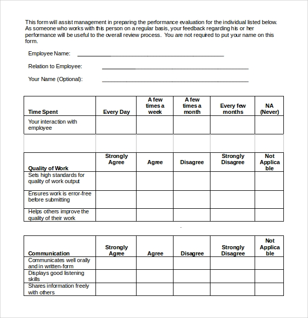 9 employee evaluation templates sample templates for 360 performance evaluation template