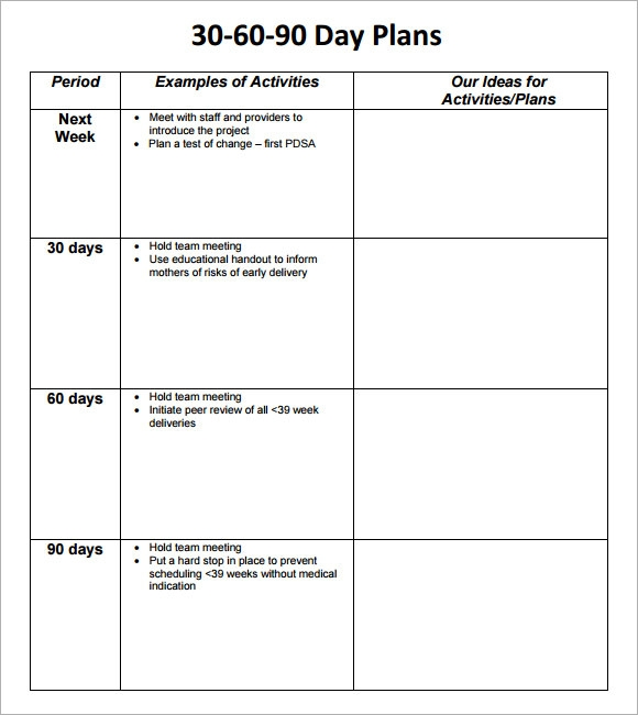 8 sample 30 60 90 day plan templates to download sample for First 100 days plan template