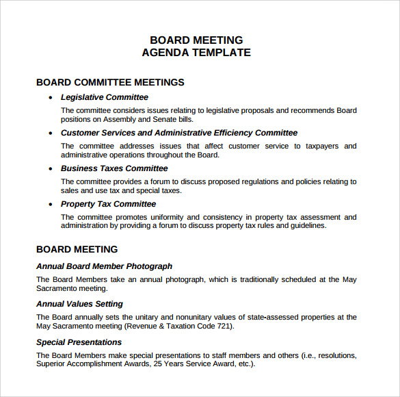 Sample Board Meeting Agenda Template 11 Free Documents in PDF Word – Samples of Agendas