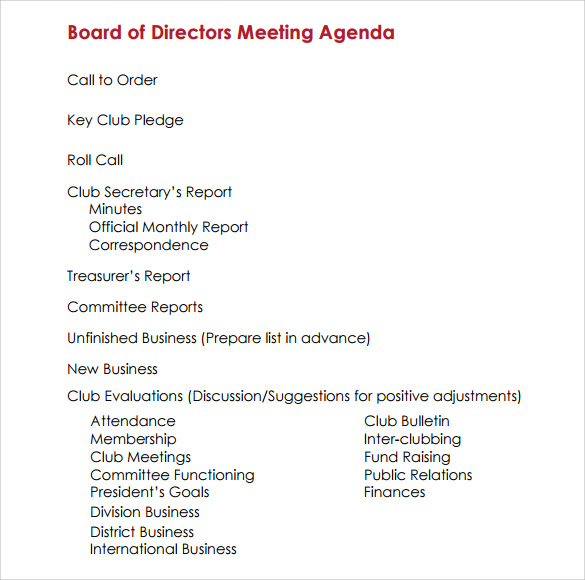 agenda sample in pdf