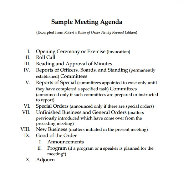 Sample Board Meeting Agenda Template 11 Free Documents in PDF Word – Agenda Examples for Meetings