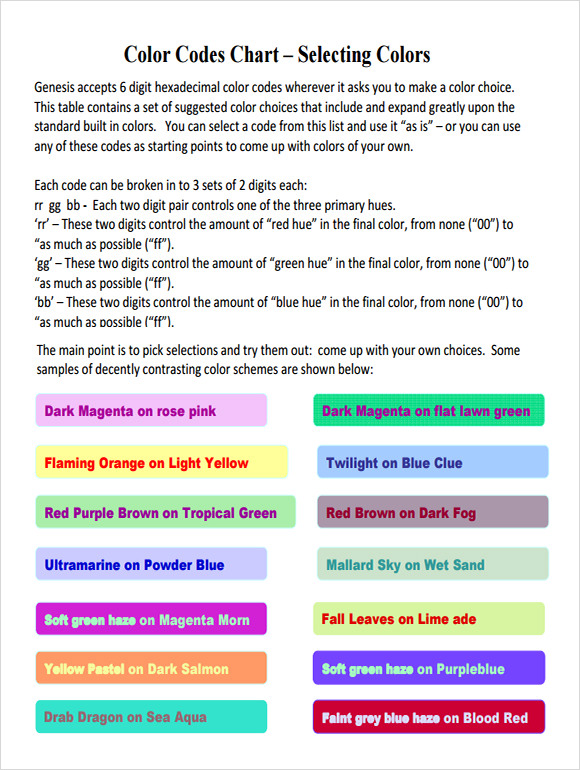 Sample Html Color Code Chart - 5+ Documents In Pdf