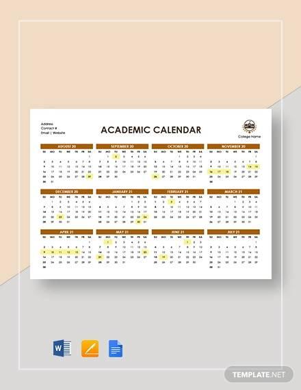 academic calendar template2