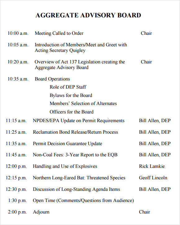 advisory board meeting agenda template – Board Meeting Agendas