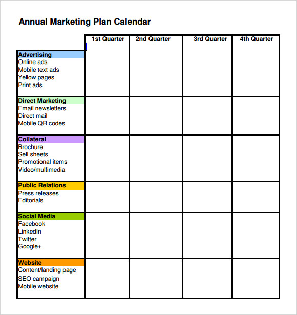 Sample Annual Calendar Annual Marketing Calendar Marketing – Sample Marketing Schedule