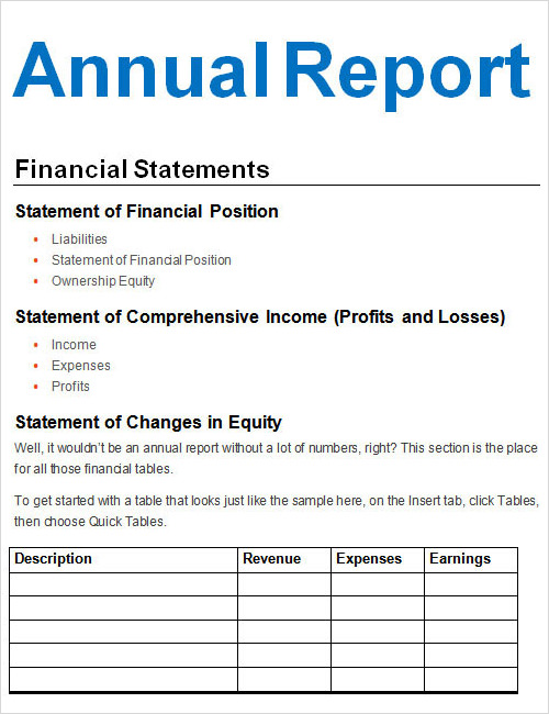 9 The Reports And Financial Statements Statement Form Monthly