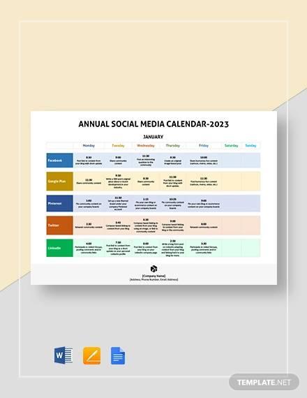 annual social media calendar template1