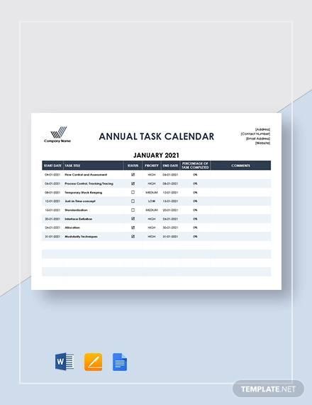 annual task calendar template