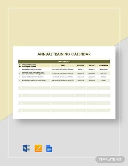 annual training calendar template