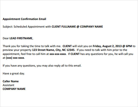 Sample Confirmation Email - 9+ Documents in PDF, Word, PSD