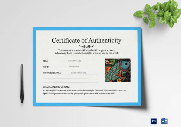 how to write a certificate of authenticity