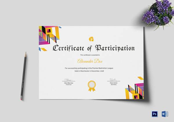 FREE 25+ Sample Participation Certificates in Illustrator ...