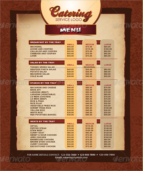Sample Menu   Documents In Pdf Psd