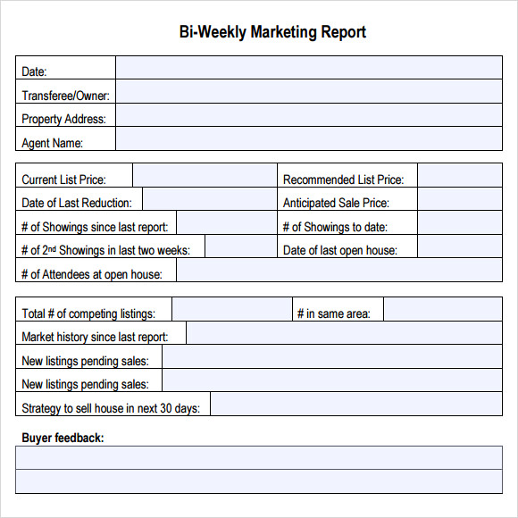 marketing report format template
