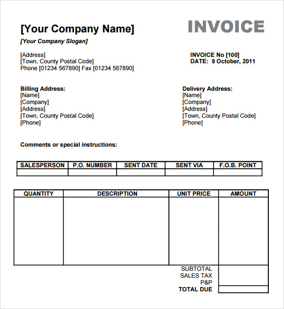 Sample Billing Invoice 11 Documents in PDF Word Excel – Billing Receipt Template