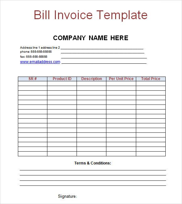 Billing Invoice Template Excel - Bill invoice template