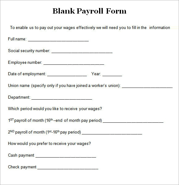 8  blank payroll form templates