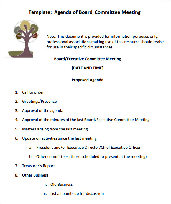 12 sample board meeting agenda templates sample templates for Notice of board meeting template