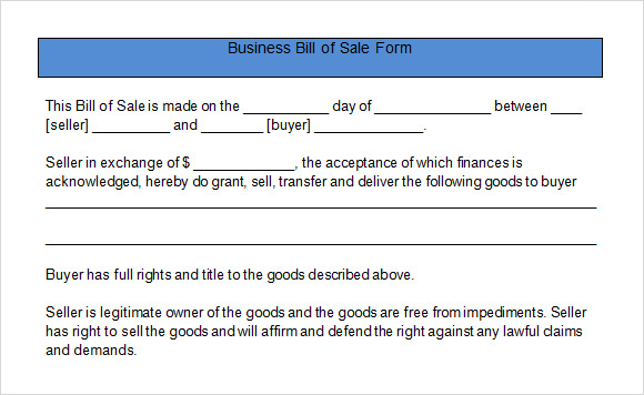Sample Business Bill Of Sale Form   Free Documents In Pdf Word