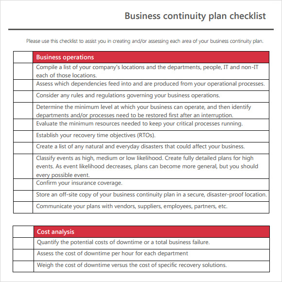 Sample business continuity plan template 12 free documents in pdf business continuity plan checklist template accmission