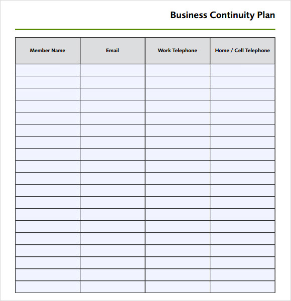Business Continuity Plan Template Free  Best Business Template