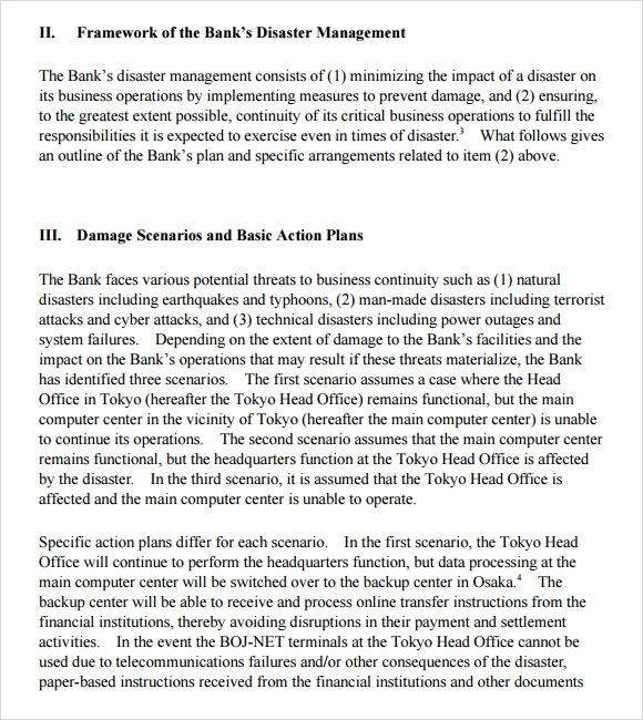 Sample Business Continuity Plan Template 8 Free Documents in PDF – Simple Contingency Plan Example