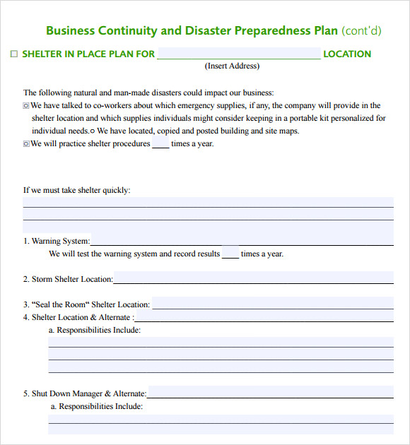 business continuity and disaster preparedness plan template