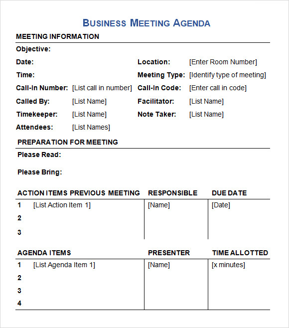 Business Meeting Agenda Template 5 Download Free Documents in – Template for Agenda for Meeting