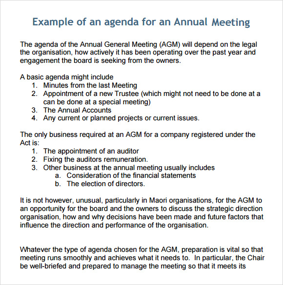 Business Meeting Agenda Template 5 Download Free Documents in – Samples of Agendas