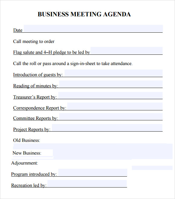 Business Meeting Agenda   Free Samples  Examples  Format