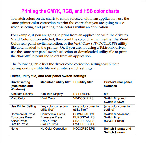 Sample Cmyk Color Chart Web Color Kilo Chart Template Free Color
