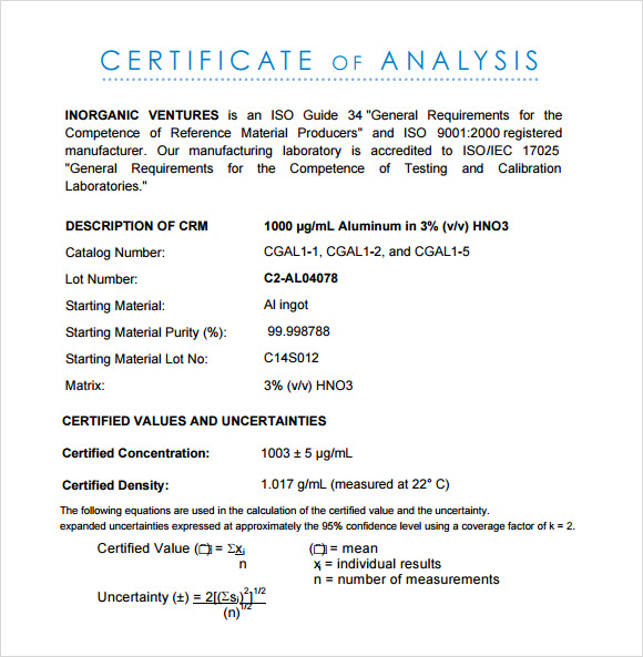 Certificate of Analysis Template   7  Free Download for PDF Sample Wu7LbEa0