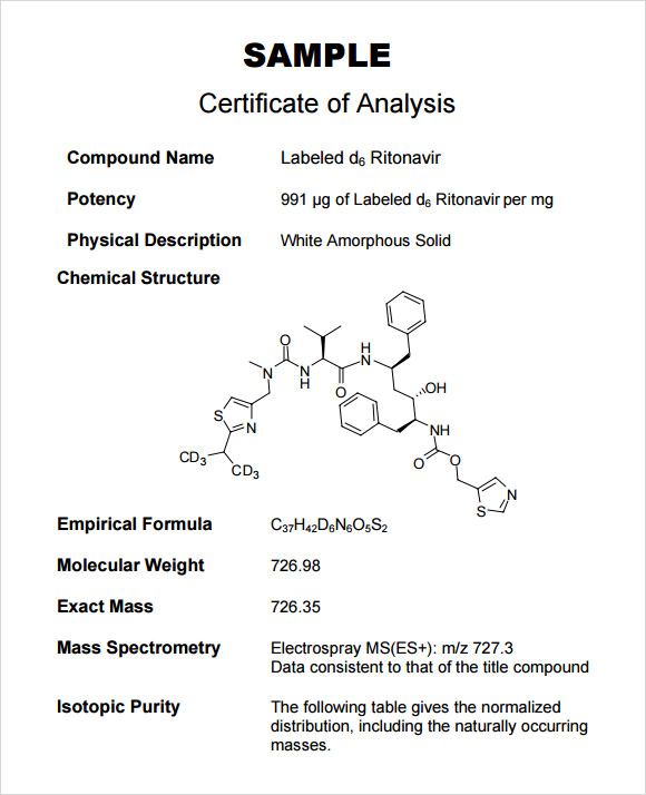 11 Sample Certificate Of Analysis Templates To Download Sample