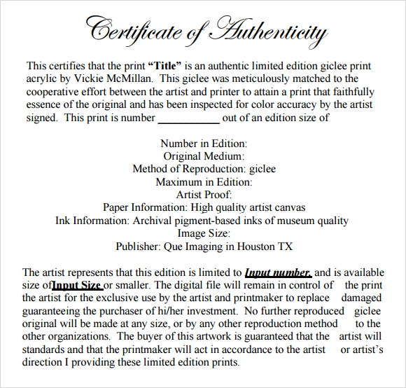 Sample certificate of authenticity template 36 documents in pdf certificate of authenticity template yadclub Images