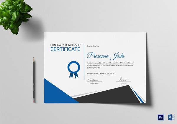 certificate of honorary training template