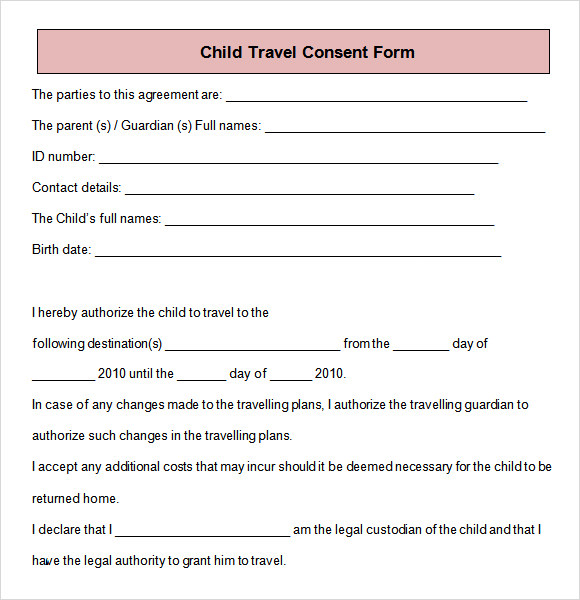 Parental consent form template travel images template for Free child travel consent form template