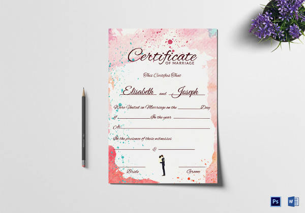 FREE 17+ Sample Marriage Certificate Templates in PDF | Word