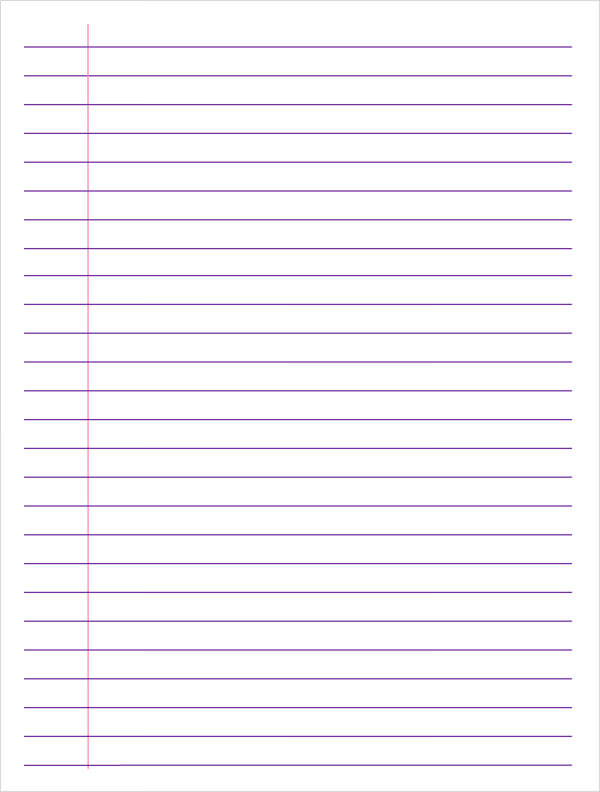 download lined paper Simply download and print this lined notebook paper with horizontal writing lines and a vertical red line for a left margin.
