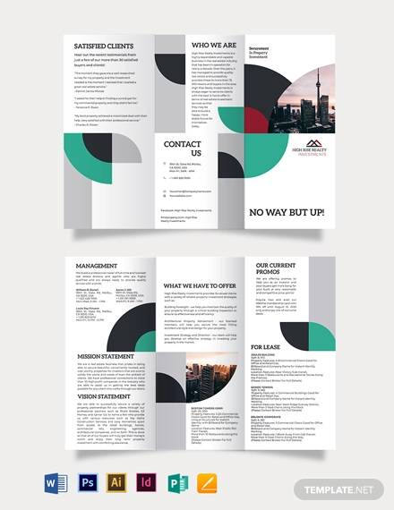 commercial real estate investor tri fold brochure template