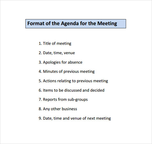 6 sample agenda planner templates sample templates for First board meeting agenda template